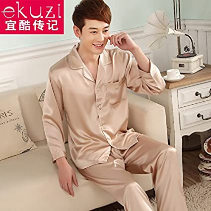 Wanglele Primavera Y El Otoño del Hombre Pijama De Seda Fina Joven Traje Pantalón De Manga