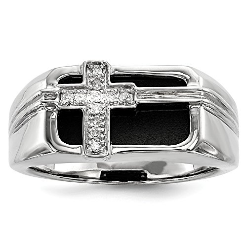 (925 Sterling Silver Diamond Black Onyx Cross Religious Mens Band Ring Size 11.00 Man Fine Jewelry Gift For Dad Mens For)