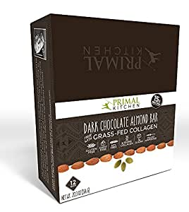 Primal Kitchen Dark Chocolate Almond Collagen Protein Bars, 1.7 Ounce, Pack of 12, Gluten Free, Paleo