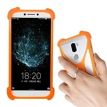Lankashi Naranja Funda de Silicona Case Ring Stand Holder Dedo Agarre Soporte Protectora Carcasa Cover Para BQ Aquaris C X2 V VS Plus U US Lite M 2017 ...