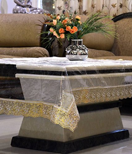 Kuber Industries Transparent Center Table Cover 4 Seater 4060 Inches (Golden Lace) (Standard Size Of 4 Seater Dining Table)