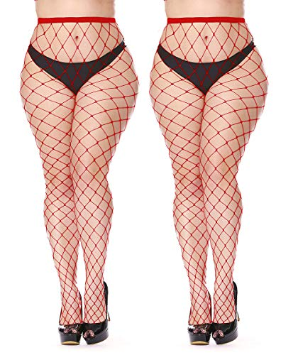 Womem's Sexy Black Fishnet Tights Plus Size Net Pantyhose Stockings (Red, Plus Size)