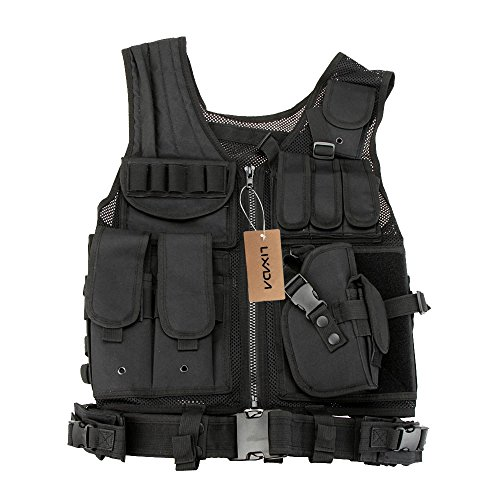 (Lixada Tactical Vest Military Airsoft Vest Adjustable Breathable Combat Training Vest for Outdoor Hunting, Fishing, Army Fans, CS War Game, Survival Game, Combat Training)