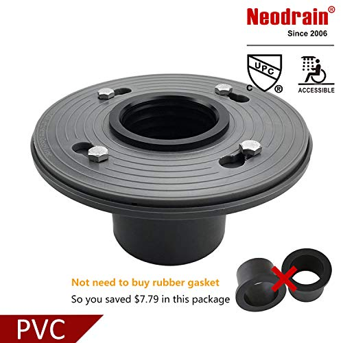 Neodrain 2-Inch PVC Sub Drain, Shower Drain Base, No Hub Shower Drain Base with Rubber Gasket for 2 inch Linear & Square Drain Installation