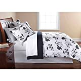 Mainstay 8PC OPP Black White Floral Bed in Bag Comforter Set Queen