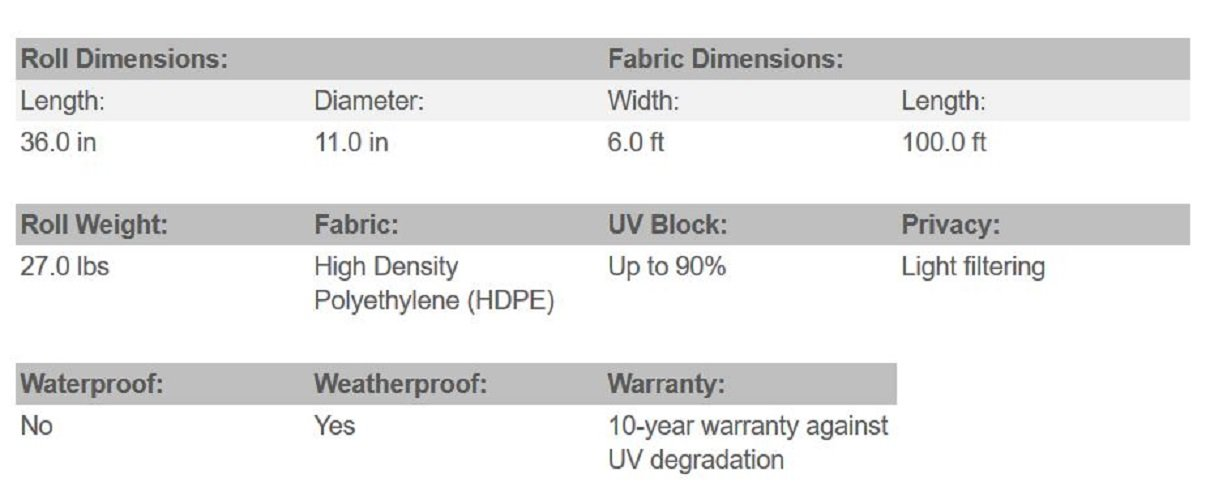 Black Coolaroo 12-Feet by 50-Feet Medium Shade Fabric