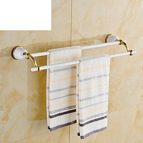 30%OFF European white double Towel rack/garden color Towel rack/Golden luxury bathroom accessories-B