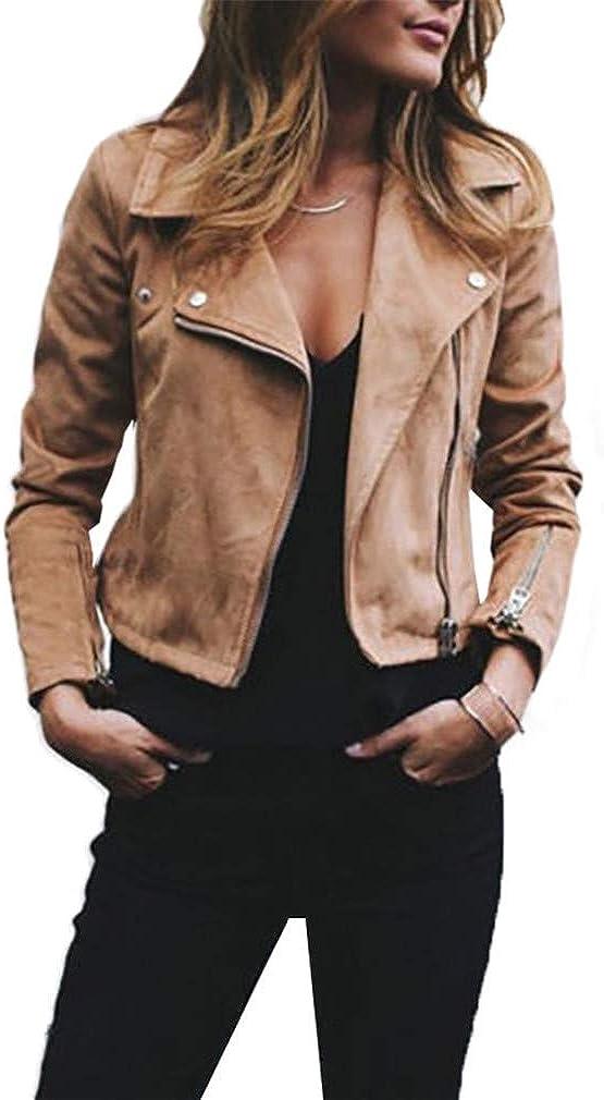 HYDSFG Autumn Women Slim Cool Suede Leather Jackets Female Zipper Motorcycle Coat Faux Biker Jacket Outerwear