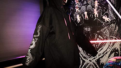 Felpa Felpe one Ricamo Maniche Outwear Con New Maglione Black A Cappuccio size Hoodies Gotico Harajuku Drago Zjswcp Lunghe Donna dqntdZ