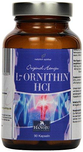 Hanoju L - Ornithin, 400 mg, 90 vegetarische Kapseln, 1er Pack (1 x 45 g)