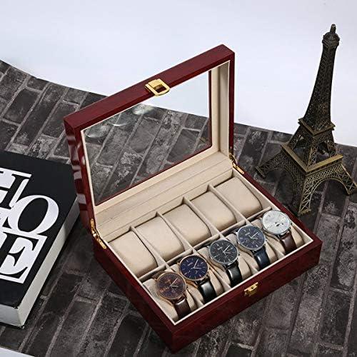 10 Griglie Scatola di Orologio in Legno Durevole casa Gioielli Display Collezione Custodia Custodia organizzatore Scatola Rossa