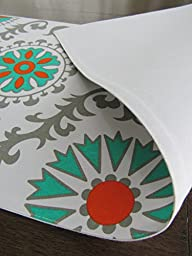 Turquoise/Gray Medallion Table Runner - Crabtree Collection - Turquoise/Orange/Gray Medallion (12 x 72)