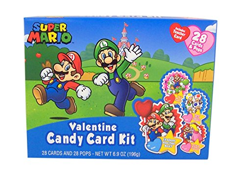 Super Mario Valentine's Day Candy Card Exchange Kit, 28 - Grocery Card Gift Outlet