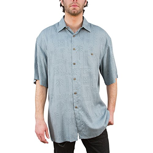 Campia Men's Rayon Print Shirt (Tonal Palm Tree Batik Dark Teal, - Male Model Dusty