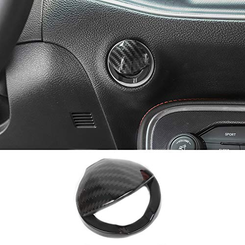 Voodonala for Challenger Engine Start Stop Button Center Console Switch Cover Trim Accessories for Dodge Challenger 2015 up (Carbon Fiber Grain)
