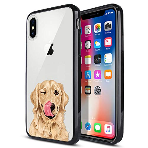 FINCIBO Case Compatible with Apple iPhone X XS 5.8 inch, Slim Shock Absorbing TPU Bumper + Clear Hard Protective Case Cover for iPhone X XS - Cute Winking Golden - Retriever Golden Iphone
