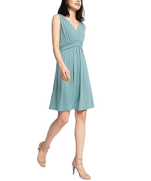 ESPRIT Collection Damen Kleid 056EO1E024-mit Stretch, Grün (Dusty ...
