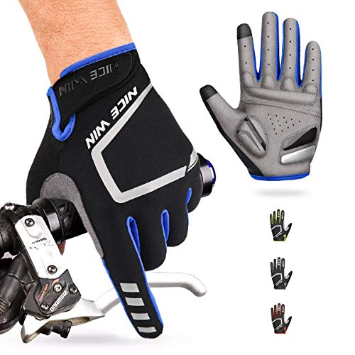 Cycling Gloves Motorcycle Bike Mountain- Road Bicycle Men Women Padded Antiskid Touch Screen Blue M