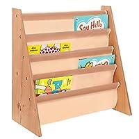 LIVIVO®, scaffale in legno per bambini, con tasche di facile accesso in morbido tessuto di nylon per proteggere i libri, dell'altezza perfetta per i piccoli lettori