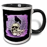 whiteoaks Halloween Calaveras–Tres tazas de calaveras y cráneo con Raven–de Raven, Blanco, 325.30 ml (11 oz)