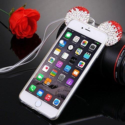 Phone Taschen & Schalen Für iPhone 6 Plus & 6s Plus Maus Ohr Diamant Muster Transparent TPU Schutzhülle mit Lanyard ( Color : Red )