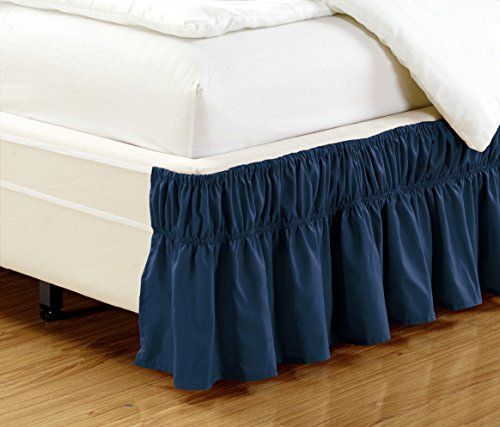 Around Wrap Blue Navy (Easy Fit, Wrap Around NAVY BLUE Ruffled Elastic Solid Bed Skirt Fits both QUEEN, KING and CAL KING size bedding High Thread Count 14 inch fall Microfiber Dust Ruffle, Silky Soft & Wrinkle Free.)