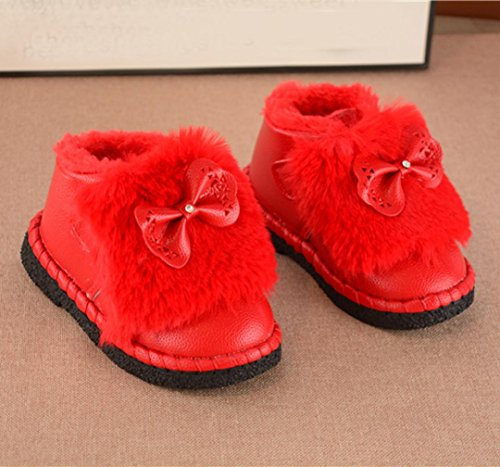Clode® Kleinkind Kinder Jungen Mädchen Martin Sneaker warme Stiefel Kinder Baby Bowknot Schuhe Rot