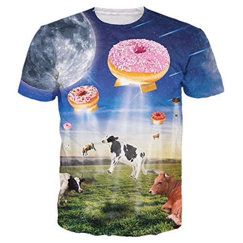 Uideazone Mens 3d Cows Fly to Eat Donuts Funny Tee T-Shirt,eye5,Asia XXL= (Funny Cow)