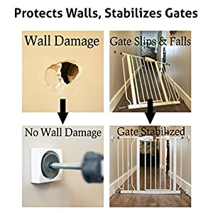 Wall Nanny Mini Baby Gate Wall Protector - (4 Pack - Made in USA) For Dog & Pet Gates - Small Low-Profile Saver - Perfect in Doorways - Cups Protect & Guard Walls from Kid Child Safety Pressure Gates
