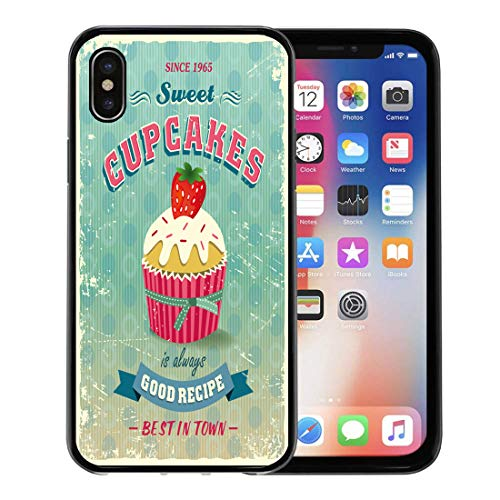 Semtomn Phone Case for Apple iPhone Xs case,Sale of Vintage Cupcakes Sign Bake Cake Retro Food Recipe for iPhone X Case,Rubber Border Protective Case,Black