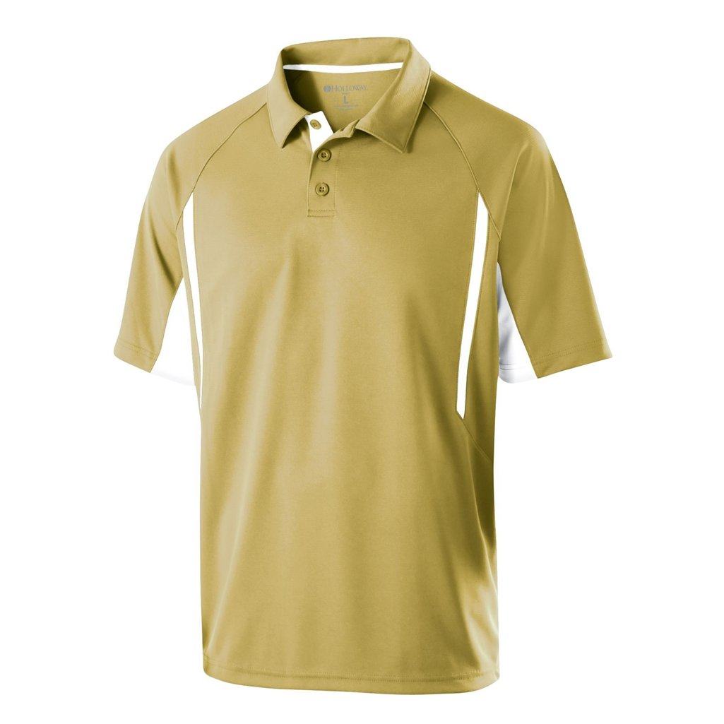 Holloway Dry Excel Avenger Polo (Medium, Vegas Gold/White) by Holloway