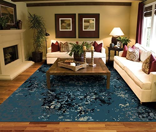 Luxury Distressed Navy Area Rug