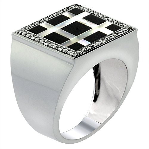 10 Diamond Mother Of Pearl - 10k White Gold Diamond Natural Onyx & Mother of Pearl Mosaic Ring Small Grid 9/16 inch wide, size 14