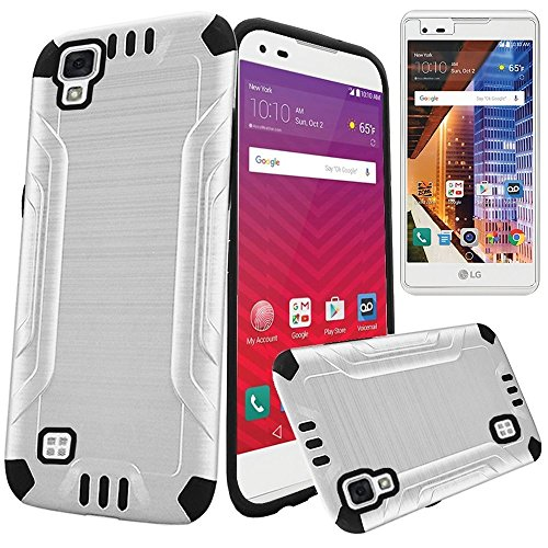 (LG Tribute HD LS676 / LG X Style L56VL K200 Heavy Duty Brushed Metal Finish Slim Fit TPU Dual Layer Hybrid Armor Shock Impact Protection Case + LCD Screen Protector [SlickGearsTM] (White))