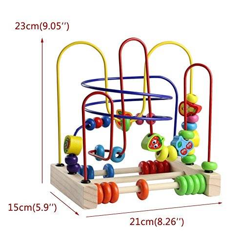 Wooden Fruits Bead Maze Roller Coaster Educational Abacus Beads Circle Toys Gift Colorful Activity Game for Children Toddlers Kids Boys Girls by Fajiabao (Image #7)