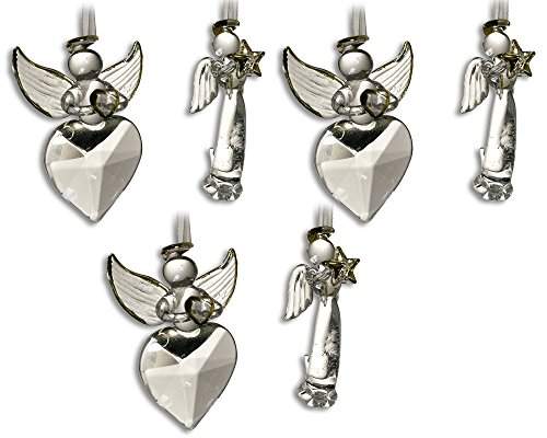 Crystal Angel Ornaments HOPE & LOVE with Gold Accents - Set