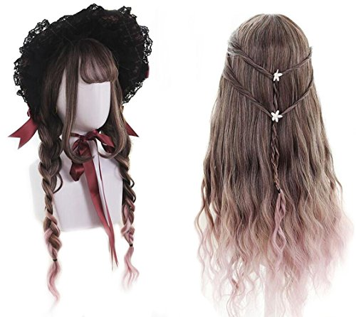 Brown Wigs for Women, Long Wavy Wig Ombre Pink lolita 2 Tone Wig with Bangs Costume Cosplay Wigs