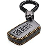 Vitodeco 4 Buttons Leather Keyless Entry Remote Control Smart Key Case Cover with a Key Chain for Lexus (Black)