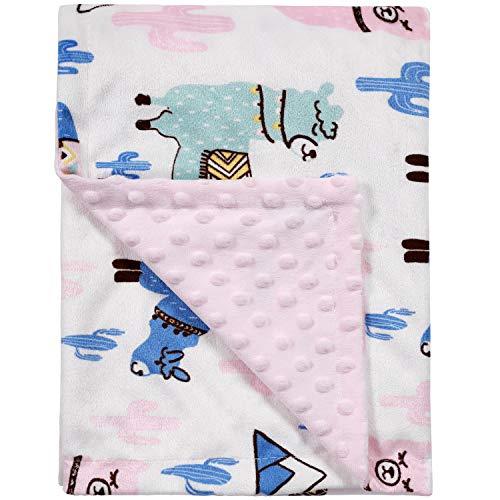 TILLYOU Plush Minky Dot Baby Blanket for Girls - Pink Alpaca & Cactus - 100% Microfiber Polyester, 2-Layer Fleece Receiving Swaddle Blanket, Super Soft Plush Toddler Blanket for Crib/Stroller, 30