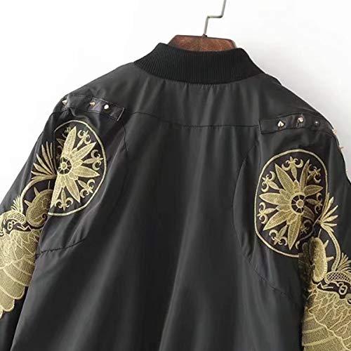 tamaño de ZFFde Hop Color Chaqueta Black Invierno larga cremallera floral bombardero S manga béisbol de Chaqueta bordado Hip Mujeres BBfTSq