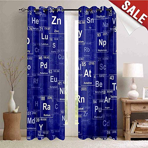 - Hengshu Periodic Table Window Curtain Fabric Chemistry Elements in Abstract Style Science Classroom Backdrop Drapes for Living Room W72 x L108 Inch Royal Blue and White
