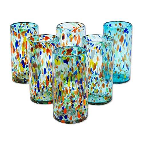- NOVICA Multicolor Eco-Friendly Hand Blown Glass Tumblers, 16 oz, Sky Rainbow Raindrops' (set of 6)
