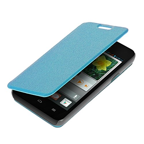 kwmobile Practical and chic FLIP COVER case for Huawei Ascend Y330 in light blue (Y330 Back Huawei Case)
