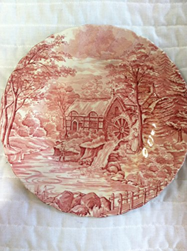 """Alfred Meakin Staffordshire England The Mill Pink plate 7 3/4"""""""