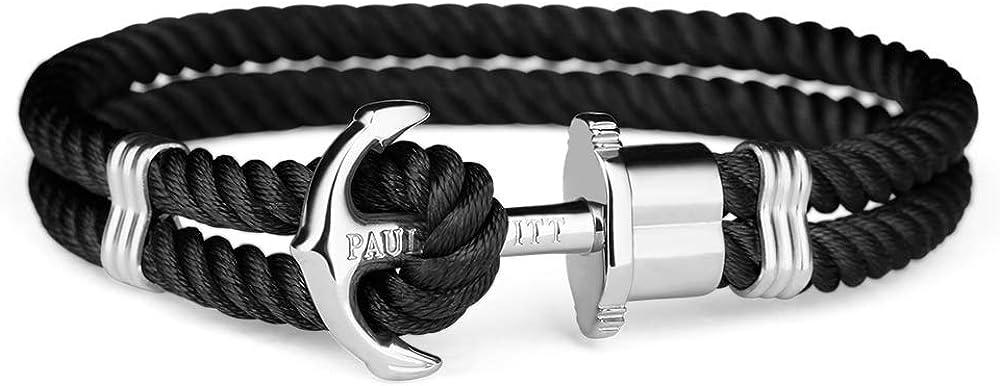 PAUL HEWITT Anchor Bracelet for Men and Women PHREP - Anchor Unisex Bracelet Nylon (Black), Sailcloth Bracelets for Men and Women with Anchor Jewelry Made of Stainless Steel