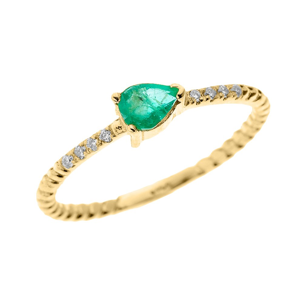 10k Yellow Gold Dainty Diamond and Pear Shape May Birthstone Green CZ Rope Design Promise Ring(Size 8.25)