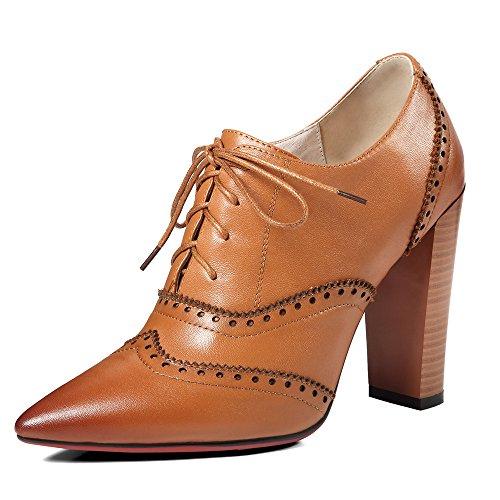 Zapatos marrones de punta abierta formales para mujer eX4TXhhJW