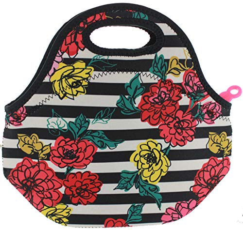 BUILT NY Gourmet Getaway Neoprene Lunch Tote (Floral Stripe Black)