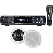 "Rockville RPA6000USB 1000 Watt Home Theater Receiver+(2) 8"" In-Ceiling Speakers"