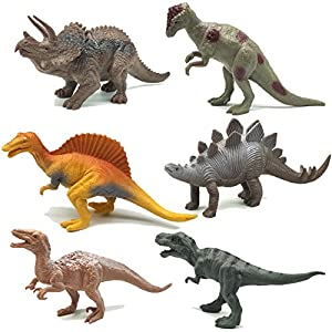Dinosaur Figure Toys 6 Pieces 7″ Plastic Assorted Realistic Dinosaur Toys Playset for Cool Kids and Toddler Education(Tyrannosaurus Toy Set of 6)